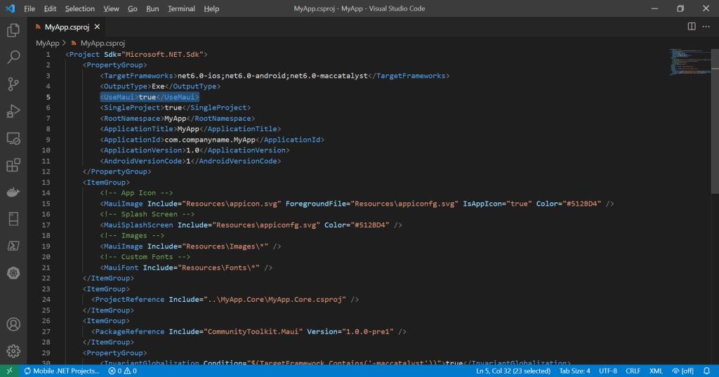 .NET MAUI SDK-style Project File