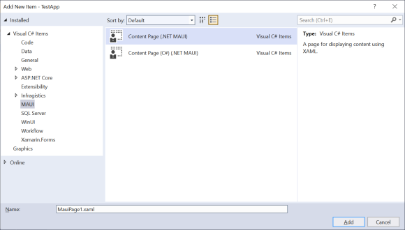 Visual Studio - Add New Item dialog with .NET MAUI Items in focus