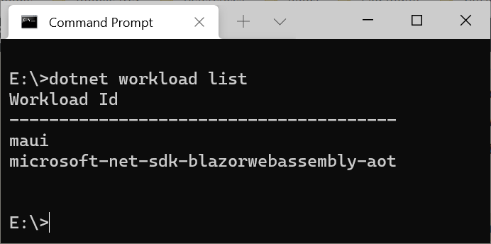 .NET MAUI installed as optional workload