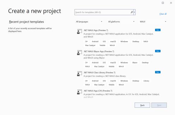 Visual Studio - Create Project - .NET MAUI templates