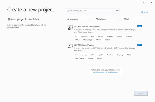 .NET MAUI project templates in Visual Studio 2022