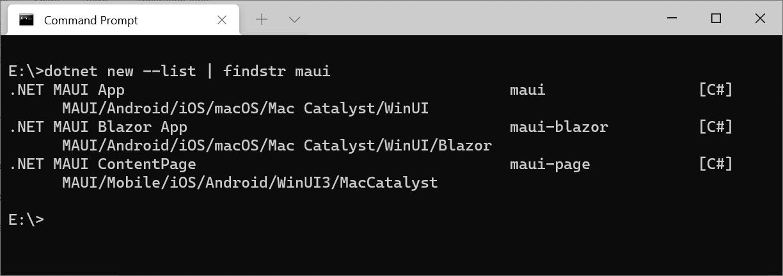 .NET MAUI Templates in CLI