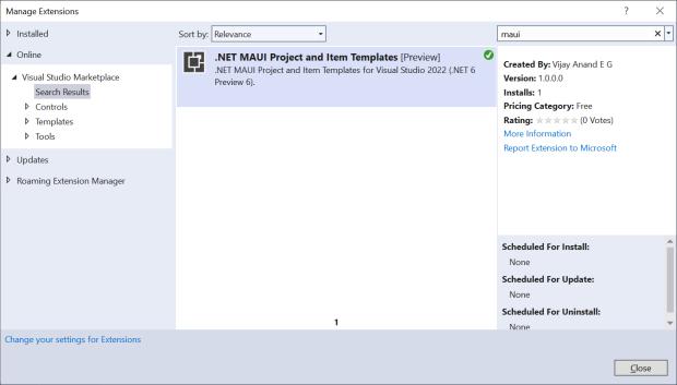 Visual Studio Manage Extensions Dialog