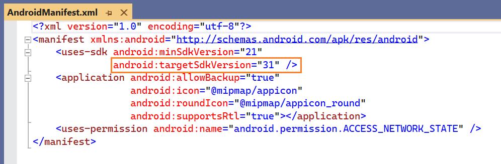 Android Target SDK - API Level 31