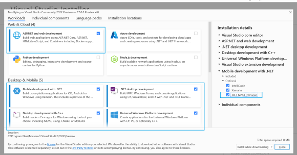 .NET MAUI Preview 8 - Workload Installation - VS2022 Preview 4