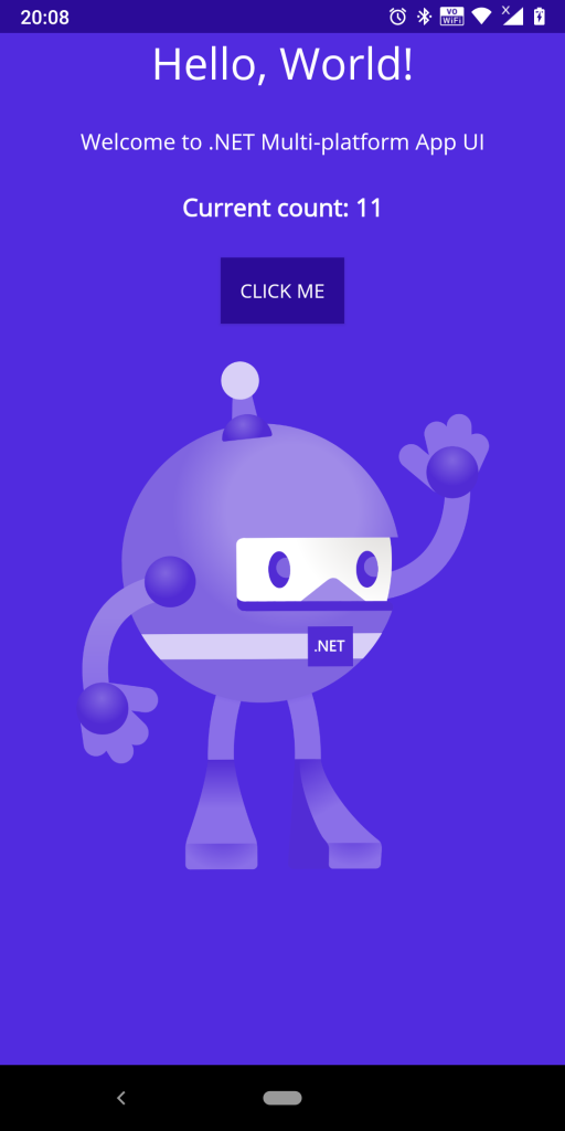 Output of the first .NET MAUI Hello World project with cute .NET bot waving Hi to you.